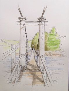 Suspension bridge over the River Wharfe between Burnsall & Hebden in Wharfedale, Yorkshire