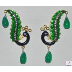 Peacock Shape Emerald & Moissanite Stone Studded Pendant & Earrings Set