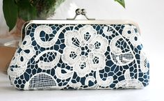 White Lace Clutch in Navy Blue 8inch L'HERITAGE by ANGEEW on Etsy, $60.00
