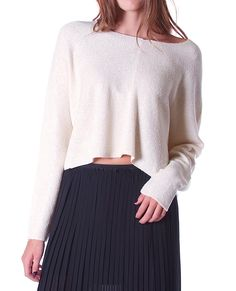 Current Sweater Crop Top Taupe (Boat-neckline long sleeves knit crop top)