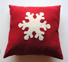 Three Snowflake Christmas Pillow covers, holiday pillow, decorative pillow, cushion, Christmas decoration * Check out the image by visiting the link. (This is an affiliate link) Blue Christmas Decor, Christmas Makes, Christmas Snowflakes, Felt Christmas, Christmas Crafts, Christmas Decorations, Coral Throw Pillows, Diy Pillows, Decorative Pillows
