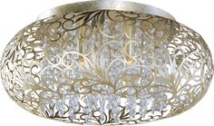"""Maxim 24150 7 Light 18"""" Wide Flush Mount Ceiling Fixture from the Arabesque Coll Golden Silver / Beveled Crystal Glass Indoor Lighting Ceiling"""