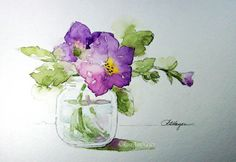 This is a high quality open edition print of a watercolor painting of a baby food jar filled with purple petunias, painted by me. The print measures