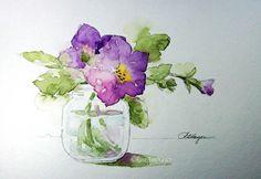 Acuarela de Petunias en estampado Floral de tarro