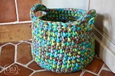 Free Crochet Pattern - Fun and Easy Home Decoration - Chunky Floor Basket with Handles - Quick project using Michael's Loops and Threads Chunky Yarn #CrochetProjects