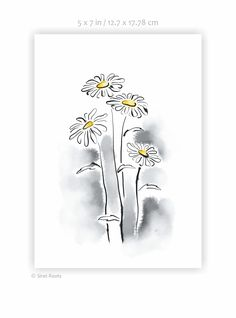 Black and yellow flowers art print. Oxeye daisy drawing. Wild flowers sketch. Ink and watercolor wall art. Few daisies Art print. Watercolor Walls, Watercolor Sketch, My Flower, Flower Art, Yellow Flowers, Wild Flowers, Daisy Drawing, Sketch Ink, Flower Sketches