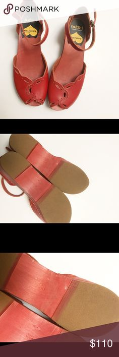 """Swedish Hasbeens Red Peep Toe Clog Adorable clogs with a 1.5"""" heel. These have been worn about 4 times. I just never wear them because I don't really do heels;) Excellent condition! Listed as size 37 translates to a US 8 and fits true to size. This style is no longer sold in stores! Swedish Hasbeens Shoes Mules & Clogs"""