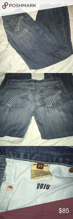 7 For All Mankind Dojo Jeans Size 29 7 For All Mankind Dojo Jeans Size 29 bottom of jeans in heel area is worn, see photos 7 For All Mankind Jeans