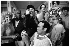 the cast of one flew over the cuckoos nest posing for their picture on location at the oregon state hospital salem oregon 1974    by Mary Ellen mark