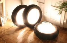 Decorative lights made out of tires.  This seems like an outstanding idea.
