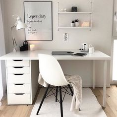 The Most Neglected Fact About White Office Decor Exposed -, the most born fact . - The Most Neglected Fact About White Office Decor Exposed -, the most overlooked fact about exposed - Study Room Decor, Cute Room Decor, Room Ideas Bedroom, Den Decor, White Office Decor, White Office Furniture, Aesthetic Room Decor, Home Office Design, Office Home