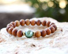 Sandalwood and Green South Sea Pearl Bracelet by LaliJewelryShop Trendy Bracelets, Trendy Jewelry, Handmade Jewelry, Beaded Bracelets, Yoga Bracelet, Pearl Bracelet, Stretch Bracelets, South Seas, South Sea Pearls