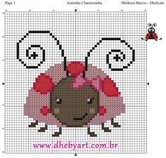 Joaninha Charmosinha Cross Stitch Charts, Cross Stitch Patterns, Kawaii Cross Stitch, Loom Knitting, Cross Stitching, Beading Patterns, Pixel Art, Crochet, Burlap