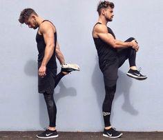 Look para treinar corrida, com legging masculina.
