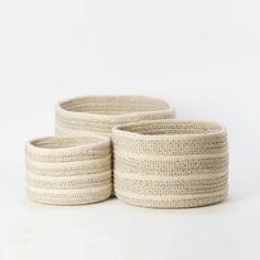 Natural Wool Basket, Striped in Outdoor Living TRENDING Mudroom at Terrain