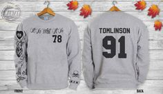 Louis Tomlinson Tattoos One DIRECTION 1D Crewneck Sweatshirt Sweater and Hoodie Jumper ADD TOMLINSON 91 screenprint front and back Product Information