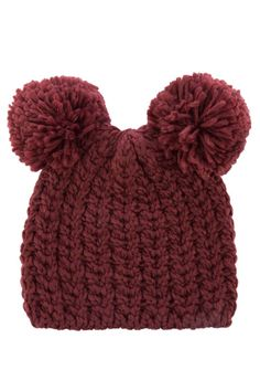 DeFacto Bordo Kadın Çift Ponponlu Bere 1 Baby Knitting, Crochet Baby, Knitting Increase, Pom Pom Hat, Yarn Projects, Kids Hats, Baby Sweaters, Ear Warmers, Baby Hats