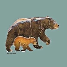 BEAR and CUB Cloisonne PIN by Bamboo Jewelry Enamel STERLING Silver - Gift Boxed #BAMBOOJewelry