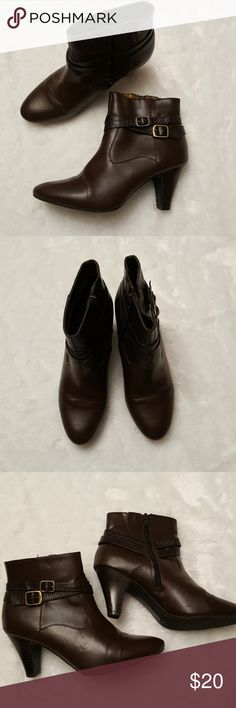 Brown Heeled Booties Good condition  A few small skuffs  All man made materials Dark Brown Zips up  3 inch heels Very comfortable and easy to walk in Rialto Shoes Heeled Boots