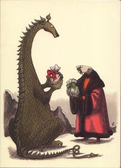 Edward Gorey dragon with Christmas Gift