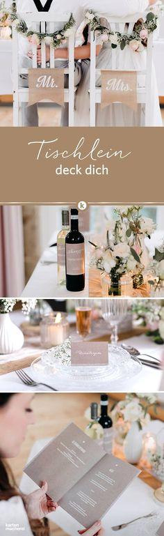 Tischlein deck dich! Wunderschöne Papeterie für euren Hochzeitstisch mit typografischen Elementen und Kraftpapier-Optik für einen Natural Vintage Look. Die Hochzeitspapeterie 'Kalligrafie'