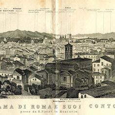 Panorama of Rome Baedeker 1890 Skyline Italy  by CarambasVintage, $40.00