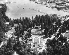 Aerial view of Malkin Bowl, Stanley Park and waterfront industries, 1953 (Photo by Vancouver Park Board via Vancouver Archives)
