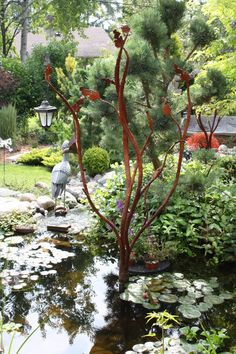 Rusty garden art tree
