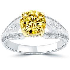 2.11 Carat Fancy Vivid Yellow Round Diamond Engagement Ring 18k Vintage Style #LioriDiamonds #DiamondEngagementRing