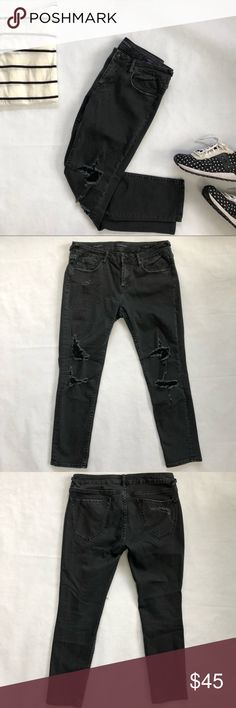 "Vigoss Thompson Tomboy destructed jeans. Black. 29 Vigoss Thompson Tomboy destructed jeans. Faded Black. Size 29"" waist. Length 25"". Only worn twice. Like new condition. Vigoss Jeans Ankle & Cropped"