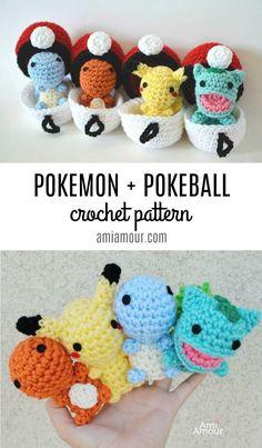 Pokemon Crochet Patterns with Pokeball Amigurumi - Gotta Crochet 'em all! Cute Pokemon with their Pokeballs! Gotta Crochet 'em all! Free Pikachu Crochet Pattern with Pokeball amigurumi. Pokemon Crochet Pattern, Pikachu Crochet, Crochet Amigurumi Free Patterns, Crotchet Patterns Free, Crocheting Patterns, Easy Knitting Patterns, Crochet Patterns For Beginners, Crochet Gratis, Cute Crochet