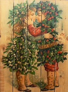 Gizaun Art KK2836 Kissing Kids Cedar Christmas Wall Art 28 by 36Inch * Read more reviews of the product by visiting the link on the image.