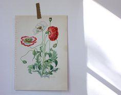 Small Vintage Botanical Flower Print by shavingkitsuppplies