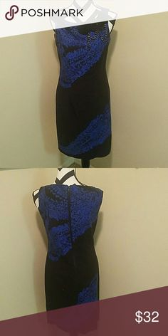 Electric Blue & Black Sexy Chic Pencil Dress Taylor Pencil Dress (Size 4) fitted and knee length with gorgeous details including a black zipper from bum to neck and jeweled flowers at the neckline. Taylor Dresses Dresses Midi