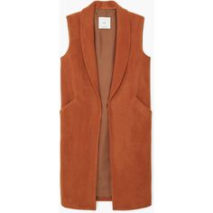 MANGO MANGO Side-Pocket Wool-Blend Waistcoat ($100) ❤ liked on Polyvore featuring outerwear, vests, jackets, vest waistcoat, brown waistcoat, lapel vest, waistcoat vest and brown vest