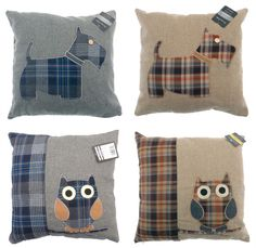 Vintage Owl Scottie Dog Cushion Cover, Designer Check Scatter Cushions, 43x43 cm