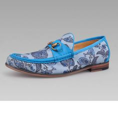 Fashion Men Blue Floral Hipster Wedding Prom Dress Moccasins Shoes SKU-1280686