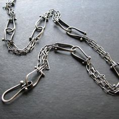 Items similar to Miller: Oxidized Sterling Silver Riveted Chain Links Modern Industrial Necklace on Etsy Modern Jewelry, Metal Jewelry, Jewelry Art, Silver Jewelry, Silver Rings, Handmade Chain Jewelry, Jewlery, Jewelry Clasps, Jewelry Findings