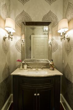 Charming powder room by Dewson Construction Company  Wilmington, DE    http://www.dewsonconstruction.com
