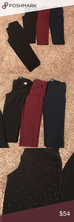 4 Old Navy Harper crop pants! All 4= midRise size 12 regular- no flaws!! Maroon, black, blue, blue with white sailor anchors symbols Old Navy Pants Ankle & Cropped