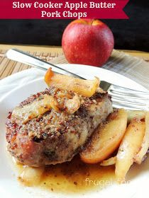 Slow Cooker Apple Butter Pork Chops via thefrugalfoodiemama.com # ...