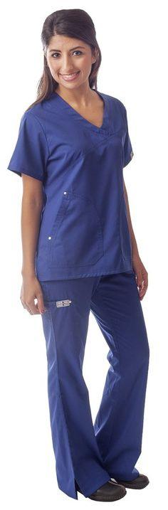 Dress A Med Women's Wrinkle Free Designer Flare Leg 2 Piece 6 Pocket Scrubs Set