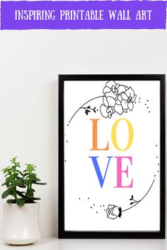 Looking for inspirational wall art to go in your office and home? This colourful love spring wall art is the perfect addition to your home decor. It is an instant download so you can print it straight away, no having to go out to shops, no waiting times, no shipping costs! Awesome!! discover more colorful prints and inspirational quotes here #inspirationalwallart #colourfulart #homedecor #instantdownload #lovequotes Colorful Wall Art, Inspirational Wall Art, Wall Colors, Printable Wall Art, Office Decor, Wall Art Prints, Online Printing, Digital Prints, Fingerprints