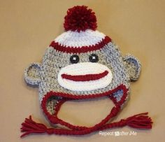 Crochet Sock Monkey Hat - Free by Sarah Zimmerman of Repeat Crafter Me / Sock Monkeys Part 2 - Animal Crochet Pattern Round Up - Rebeckah's Treasures