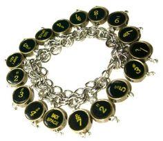 Cool charm bracelet that looks like old typewriter keys.