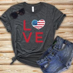 Excited to share the latest addition to my shop: Of July Shirt Women, LOVE Fourth Of July Unisex T-Shirt, USA Flag, United States Of America Disney Designs, T Shirt World, T Shirt And Shorts, T Shirts For Women, Clothes For Women, Direct To Garment Printer, Cute Shirts, Fourth Of July, Shirt Style