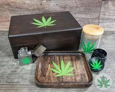 Complete Smoker Gift Set includes Wood Stash Box, Wood Rolling Tray, Stash Jar, Herb Grinder, and Wi