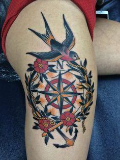 Bird & Compass Tattoo