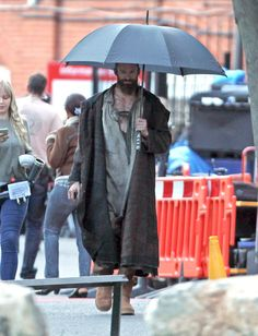 Anothe pic of Hugh in costume and on set. Yeah.
