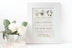 Personalized Baby Memorial Gift Print with Actual Handprints and Footprints, Infant Loss, Stillbirth Stillborn Gift - In Memory of Baby Guardian Angel Gifts, Baby Footprint Art, Stillborn, Losing A Loved One, Baby Footprints, Baby Memories, Infant Loss, Sympathy Gifts, Memorial Gifts